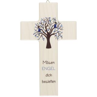 Kinderkreuz Mögen Engel Blau Lebensbaum